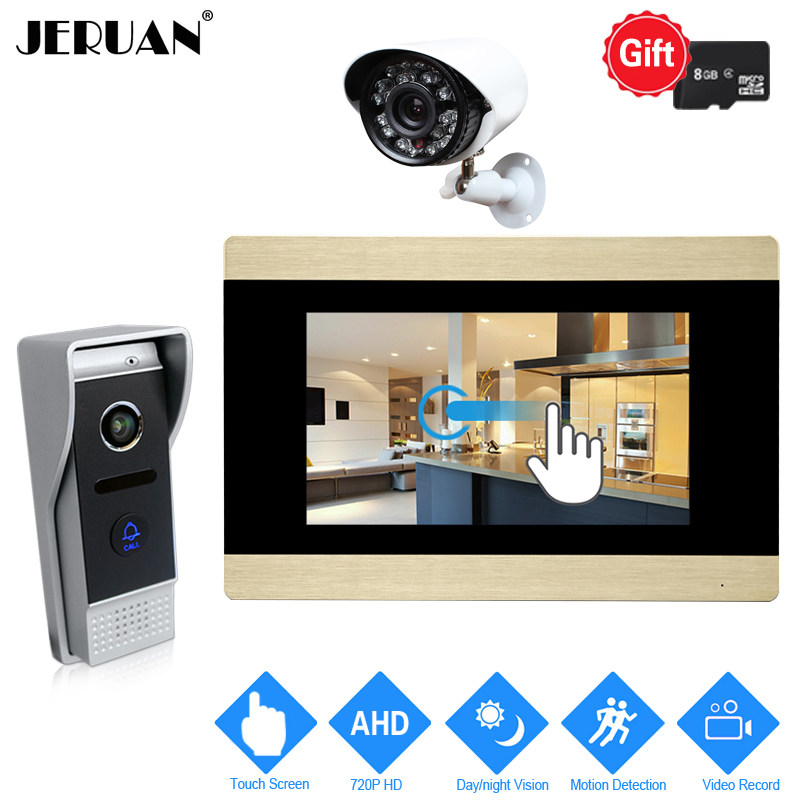JERUAN 720P AHD Motion Detection 7`` Touch Screen Video Door Phone Intercom System Recor ...