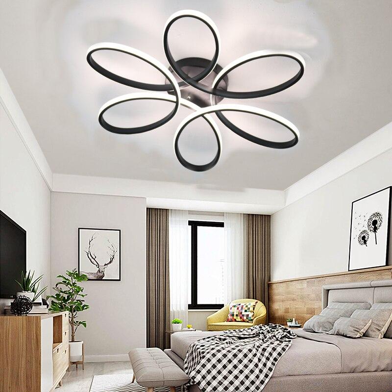 Oro Negro moderno LED luz de techo para salón dormitorio moderna ...