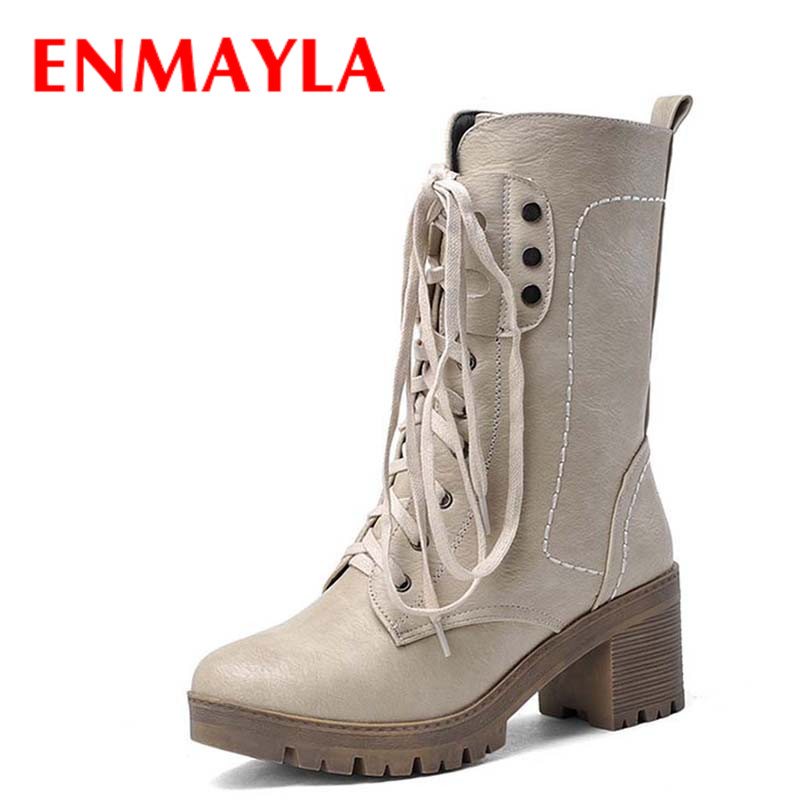 ENMAYLA New Boots Winter Women Mid-Calf Boots Fashion Elegant High Heels Modern Concise Short Shoes Women Round Toe Knight Boots casual female 2016 new winter brown flat heel boots non slip waterproof round toe knight shoes mid calf wear resistance boots