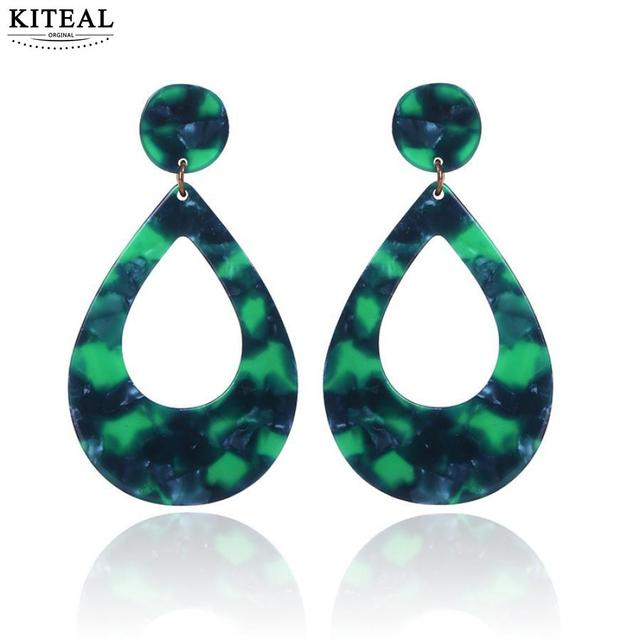 2018 NEW Trendy Fashion Leopard print waterdrop large green long Earrings  Resin Acrylic Vintage Women Elegant Design Brincos b2e4bfe0b0ce