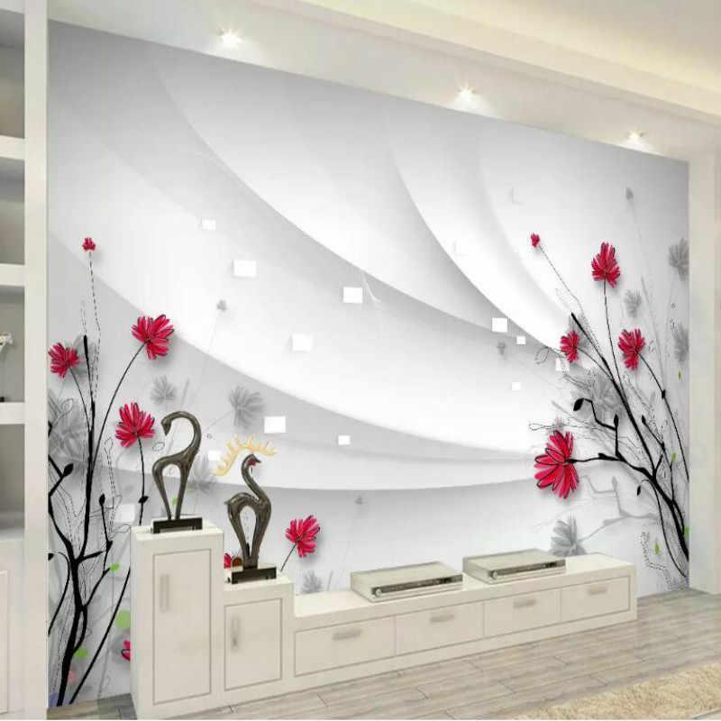 Custom 3d Muur Papier Zijden Behang voor Muren 3d Muurschilderingen Achtergrond Hand getrokken lijntekening bloemen Woonkamer Home Improvement