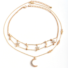Woman Multi Layers Tassel Moon Pendant Necklace Star Clavicle Choker Crescent Chain Collar Jewelry Metal Hot Sale