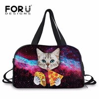 FORUDESIGNS Fashion Women Large Capacity Cat Wolf Travel Bags Folding Weekend Travel Duffle Female Animal Cotton