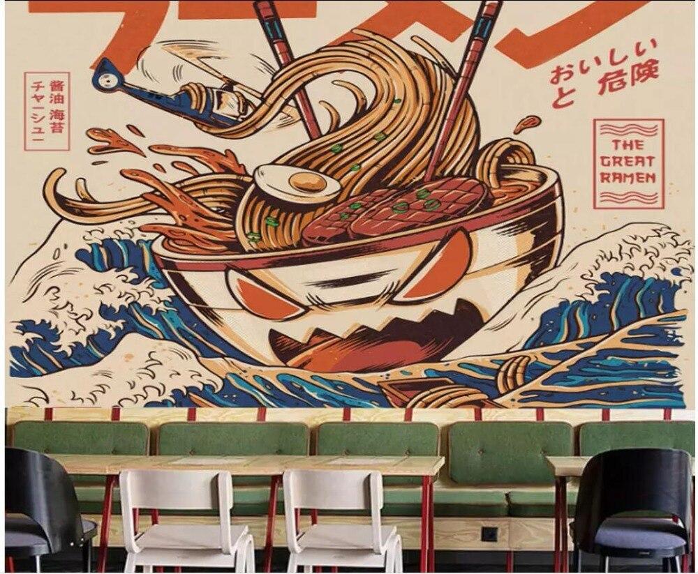 US $15 55 OFF 3D Wallpaper Kamar Kustom Foto Mural Yang Dilukis Dengan Tangan Warna Ramen Jepang Restoran Bar Restoran Wallpaper Untuk Dinding 3