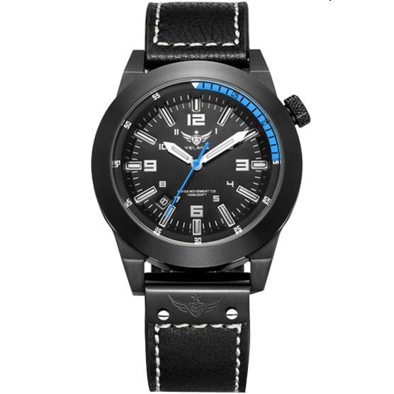 где купить  YELANG V1009 mens leather strap 316L steel pvd paintcoat army military waterproof self luminous sports wristwatch quartz watch  по лучшей цене