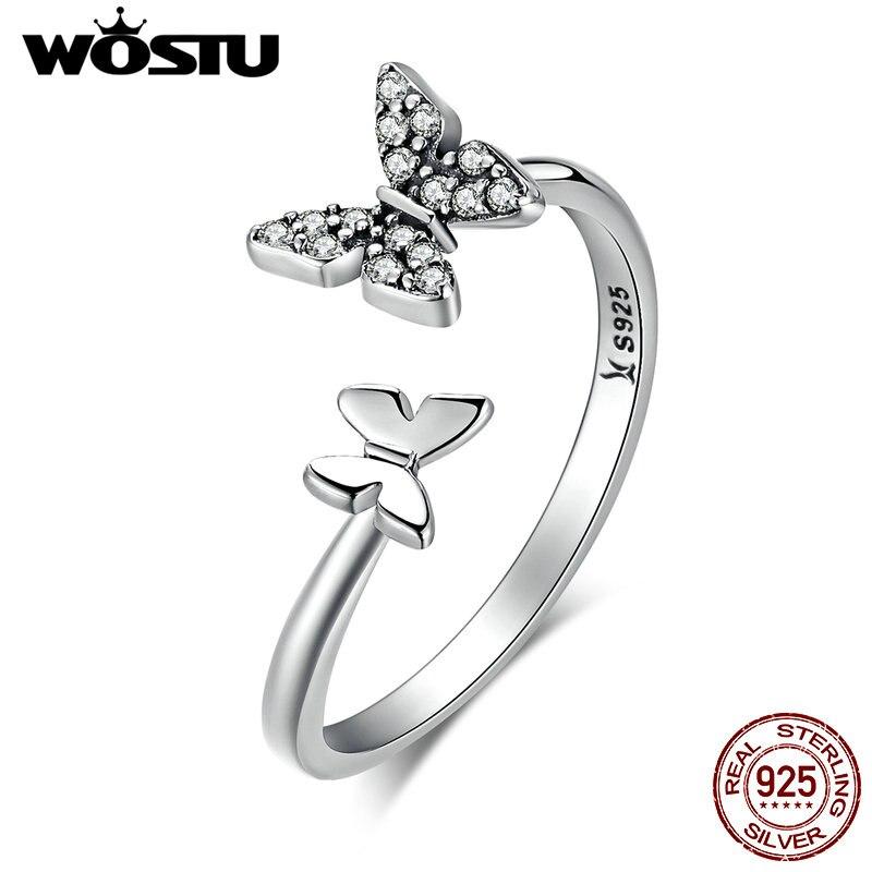 WOSTU Hot Sale 100% 925 Sterling Silver Dancing Butterflies Elegant Rings For Women Fashion S925 Jewelry Gift DXR087