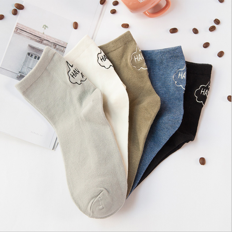5 Pairs/lot Men women Combed Cotton Dress Socks Week Socks funny Every Day Friday Weekly Fine embroidery Male Socks for Business