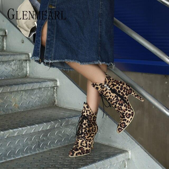 Women Boots Winter Shoes High Heels Fashion Leopard Ankle Boots Pointed Toe Casual Shoes Woman Lace Up Plus Size Ladies Pumps DE 3