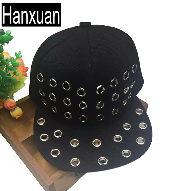 a3059914b33 Hanxuan Punk Parents and Children Hiphop Baseball Caps Rivert Men Snapback Cap  Casual Metal Chain Circle Summer Sun Hats Hat