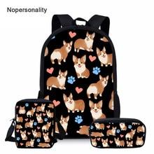 Nopersonality Cute Corgi Dog School Bag Set Black Child Schoolbag for Teenager Girls Boys Junior Primary Children Kids Book Bags