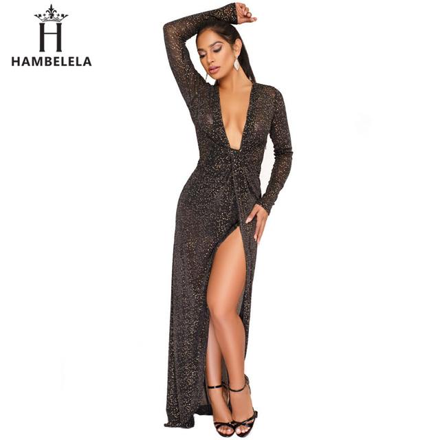 HAMBELELA Long Sleeve Sequin Dress Women Sexy V-Neck See Through Party  Bodycon Dress Evening Elegant Special Occasion Maxi Dress d28d9afaf12c