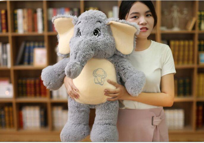 Dessin animé gris éléphant en peluche grand 55 cm doux poupée jeter oreiller cadeau d'anniversaire w1898