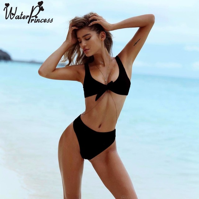 8bde5a9edd Water princess Black Front Knot Bikini Set 2017 Summer Women V Neck High  Waist Swimsuit Swimwear Brazilian Biquini Bathing Suit