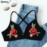 ROMWE Bralette Crop Top Sexy Tops Casual Bras for Women Underwear Rose Applique Criss Cross Back Ribbed Bralet