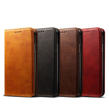Newisdom Cas For iPhone xs max Flip Leather cover Phone  Wallet Card Slots Cases X case XR 8 Plus 7 luxury bronw PU