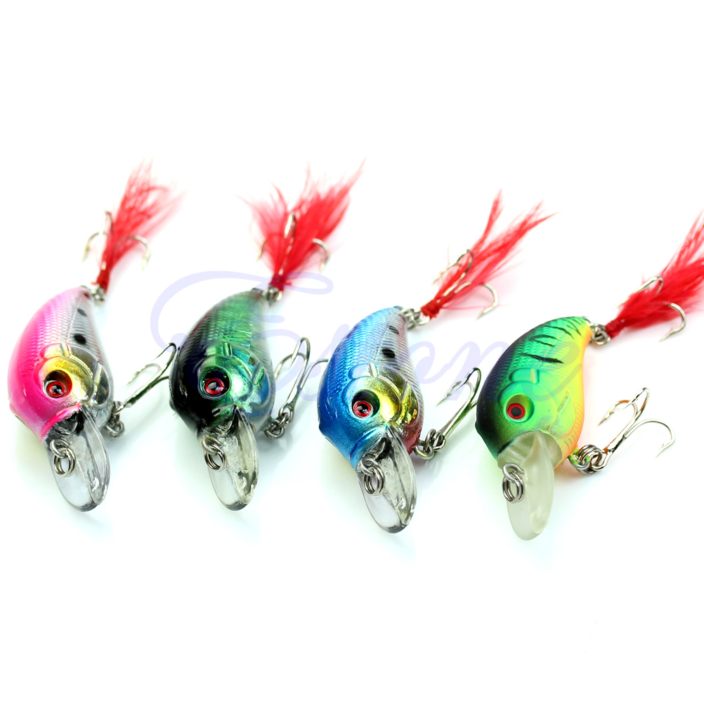 5pcs 85mm 4g Biomimetic Fishing Lures Crankbait Feather Sharp Hook Tackle Treble Fishing Accessories-in Fishing Lures from Sports & Entertainment