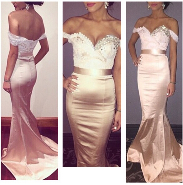 Sexy Arabic Long Bridesmaid Dresses Beaded Sweep Train Mermaid Champagne Gold Robe Sirene Longue Robe Sirene Siren Controller Dress Todress Policies Aliexpress