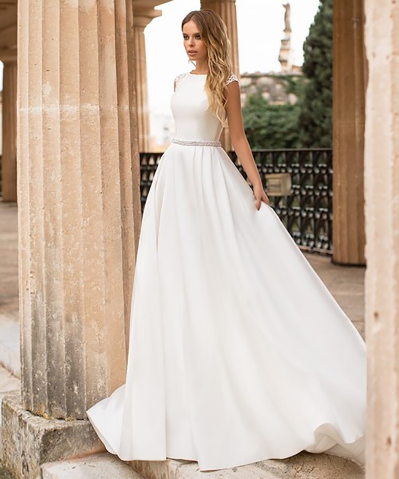 Image 5 - LORIE Satin Wedding Dress Cap Sleeves Lace Appliques Beach Bride Dress Sexy Boho Long Train Wedding Gown Hot Sale 2019-in Wedding Dresses from Weddings & Events