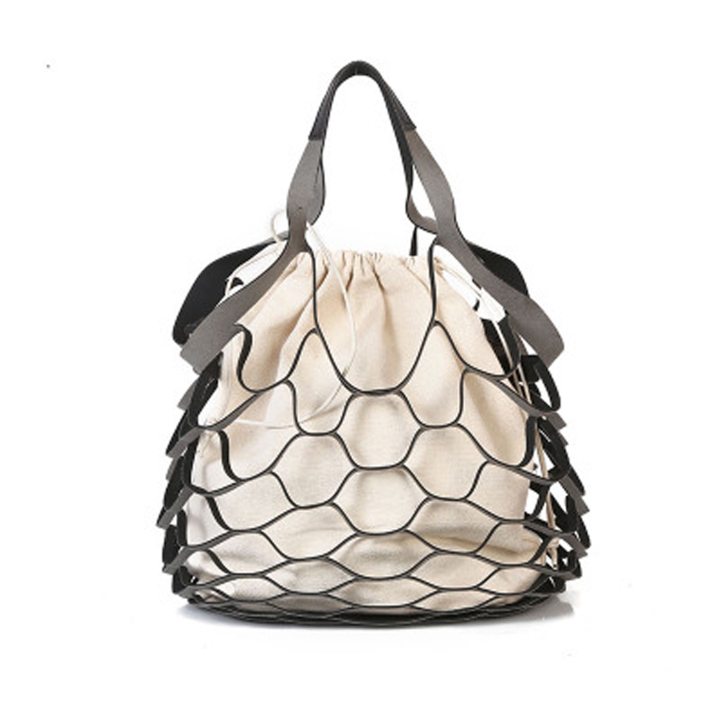 Women's Handbags Nets Hollow Large-Capacity Solid Color Canvas Matte Mobile Mother Bag