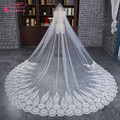 Real photos Lace Wedding Veils Long 3 Meters Bridal Veil Ivory Color One Layer high quality
