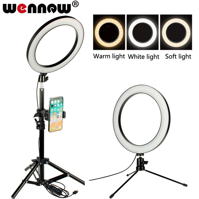 Dimmable LED Studio Camera Ring Light Photo Video Lamp Tripod Selfie Stick Women Make up light for Xiaomi iPhone Photography