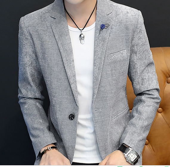 HO  New 2020 Men Cultivate One's Morality Checked Blazer Suits Autumn Fashion Leisure Youth Dark