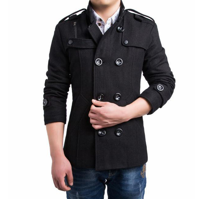 New fashion men casual slim fit winter wool jacket pea coat outwear overcoat 2 colors M-3XL AY014a