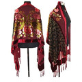 Burgundy New Chinese Women's Velvet Silk Beaded Embroidery Shawl Scarf Wrap Scarves Peafowl Free Shipping WS006-B