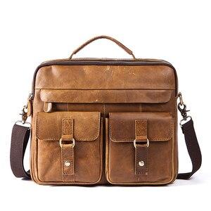 MYOSAZEE الذكور جلد طبيعي حقيبة أعمال الرجال يد لينة مقبض 14 بوصة حقيبة