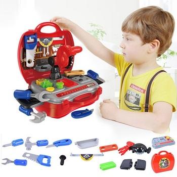 Narzędzia budowlane zabawki dla chłopców wczesna edukacja zabawka Cosplay narzędzie budowlane pudełko udawaj zagraj w zestaw narzędzi naprawa zagraj w Tos prezent tanie i dobre opinie Narzędzia ogrodowe zabawki Chłopcy baby tool set Haifeng 3 lat Z tworzywa sztucznego Model Construction Tools Toys kids tool set