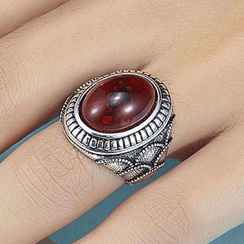 Resina de Metal Vermelho Turco Jóias Collares Declaração Anel dos homens Anel Turco Mulheres Turcos do vintage Anéis Anel Nupcial Acessó