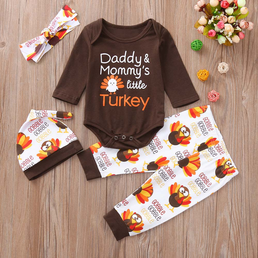 Autumn Baby Cotton Infant Baby Boys Letter Turkey Romper Pants Thanksgiving Day Outfits Children Clothing Sets Dropshipping