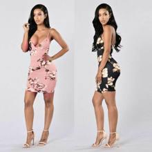 Mini robe moulante à col en v pour Femmes, tenue de Club, tendance, sexy, imprimée, 2019