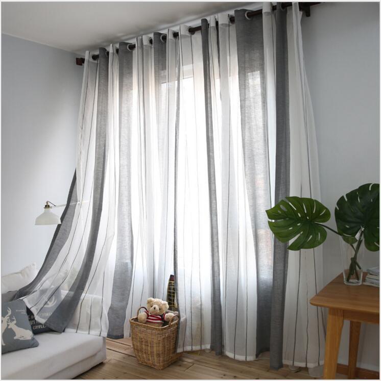 2017 Gray vertical stripes minimalist living roomMediterranean style bedroom curtains sheer One