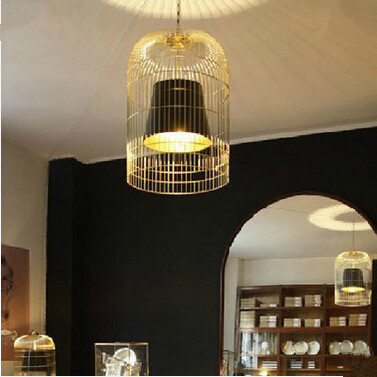 Creative modern Chinese sitting room dining-room electroplating birdcage chandelier, size: 30 * 47 cm, E27, AC110-240v. a1 the new chinese style dining room chandelier antique iron bar rectangular cloth chinese modern creative with decorative