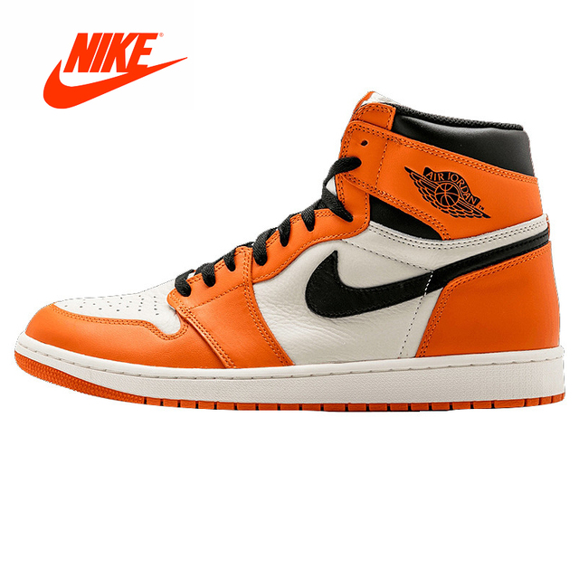 8991556ddba Original New Nike Air Jordan 1 Retro High OG AJ1 White Orange White Rebound  Men's Basketball Shoes Sneakers 555088-113