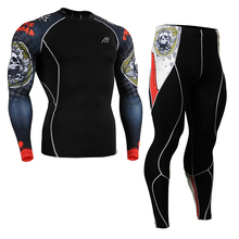 Life on track Men's Sportswear Skin-Tight Compression Shirts&Tights Set cyclinging underwear Workout Clothing Set