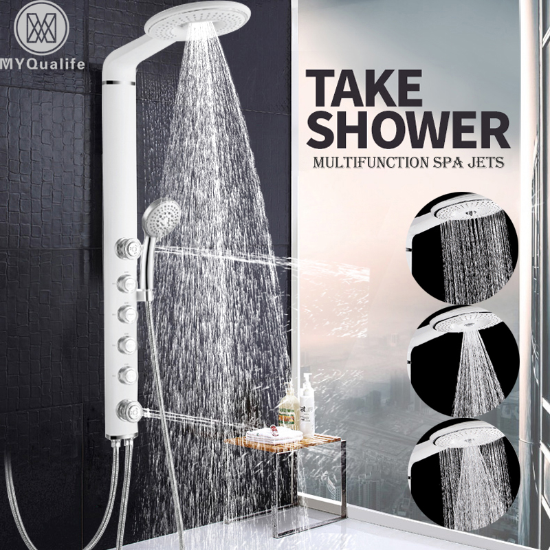 White Shower Panel Wall Mount SPA Massage Shower Head Bathroom Shower Faucet Column 4 Handles Shower System Mixer Tap brushed nickel shower panel wall mount waterfall rain shower mixer faucet stainless steel spa massage sprayer shower column tap