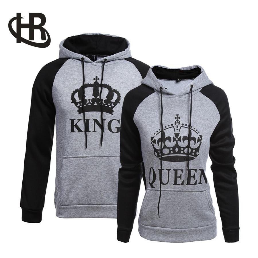 H&R King & Queen Crown Couples Hoodie Sweatshirt Hooded Coat Jacket Tops