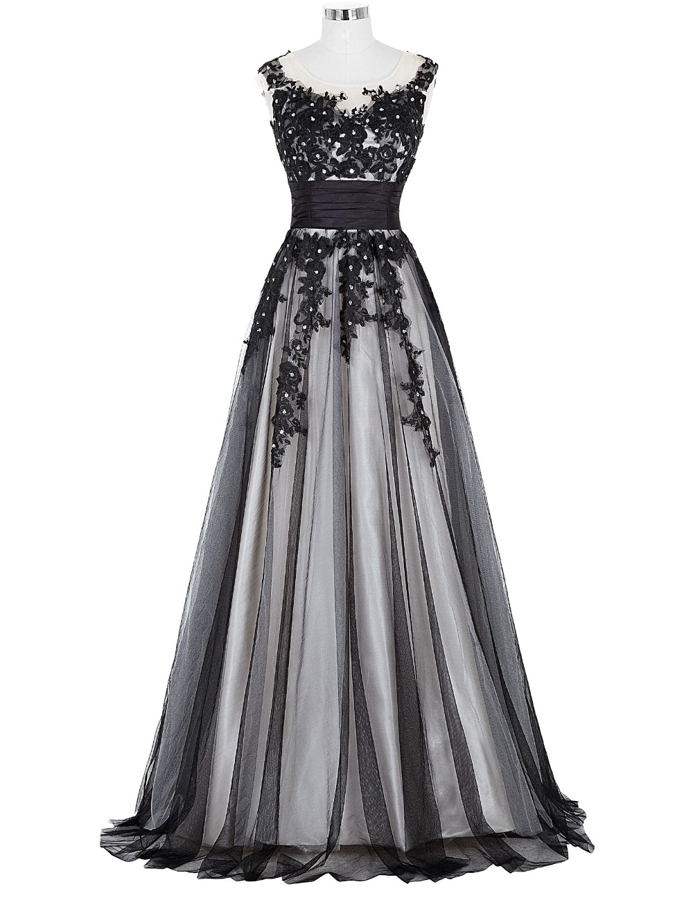 Grace Karin Long Prom Dress 2018 Elegant Black Appliques Sleeveless Soft Tulle Satin Real Picture Robes De Soiree Prom Dresses 6