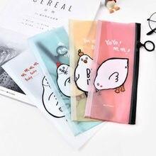 1pcs Pencil Case Chick PVC Document Bag File Folder Kids School Supplies Kawaii Stationery School Cute Pencil Box Pen Bags(China)
