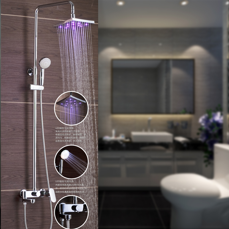 Superfaucet Bathroom Shower Faucet With LED.Chrome Finish Brass Shower Set.8 Inch LED Rain Shower Head Tub Mixer Faucet HG-8001 freeshipping brass 10 inch led shower head led shower temperature led water led bathroom faucet shower
