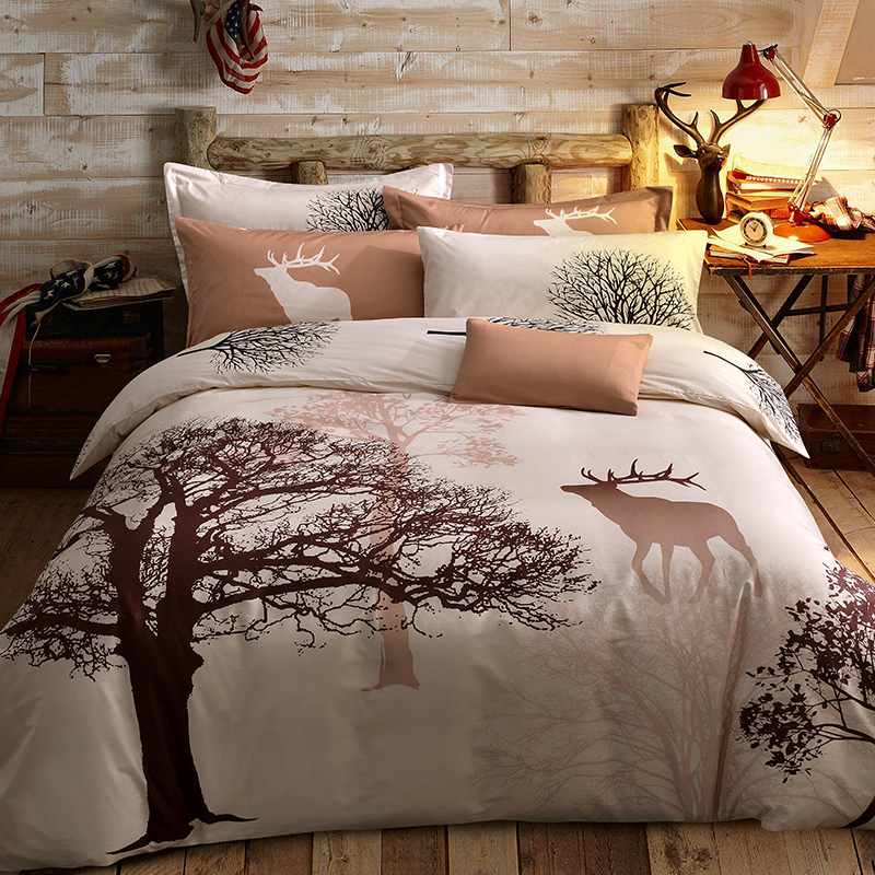 100 cotton bedding set deer tree printing single queen for Lit queen size taille