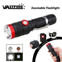 VastFire 1000 LM Zoomable USB Rechargeable Military Tactical Flashlight Torch Hunt Waterproof XM-L2 LED