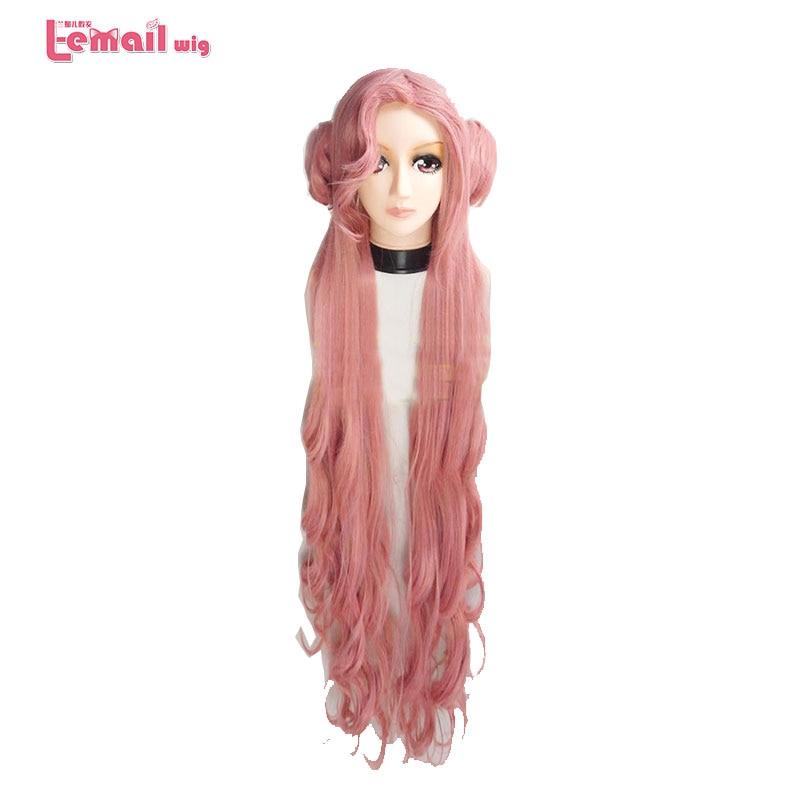 Парик л-электронной 80 см длинные Косплэй Искусственные парики 6 цветов вьющиеся розовый Синтетические волосы Perucas Косплэй парик