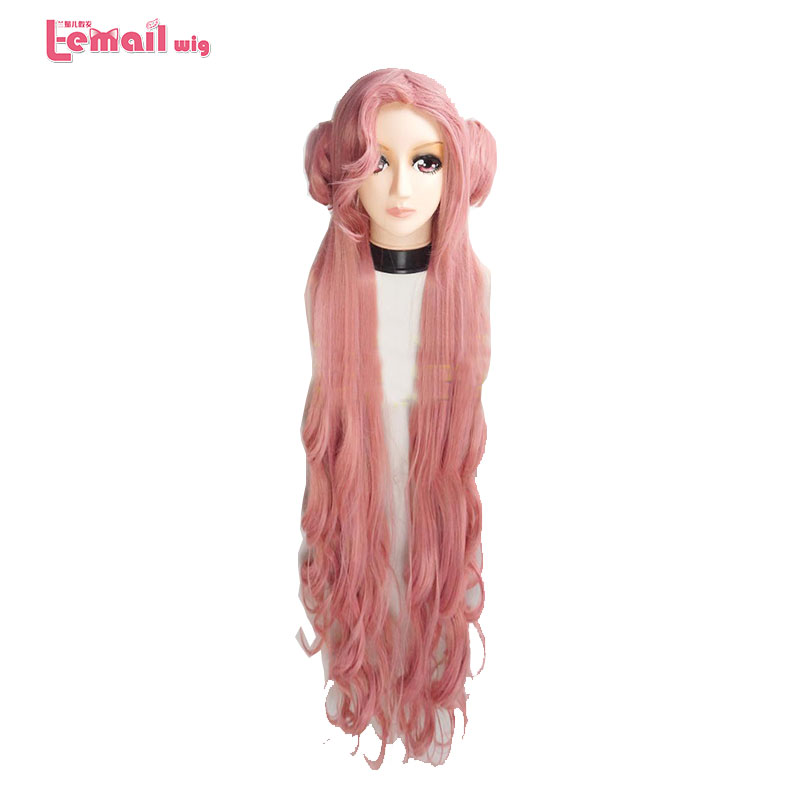 L-email Wig Code Geass: Hangyaku No Lelouch Euphy Cosplay Wigs  80cm Long Curly Pink Synthetic Hair Perucas Cosplay Wig