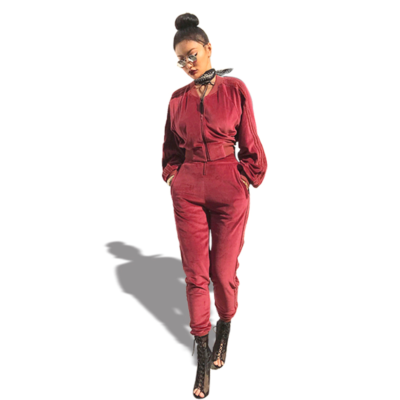 Good Quality Velvet Tracksuit Two Pieces Set Women Sexy Pink Long Sleeve Top And Pants Suit Runway Fashion Trainingspak
