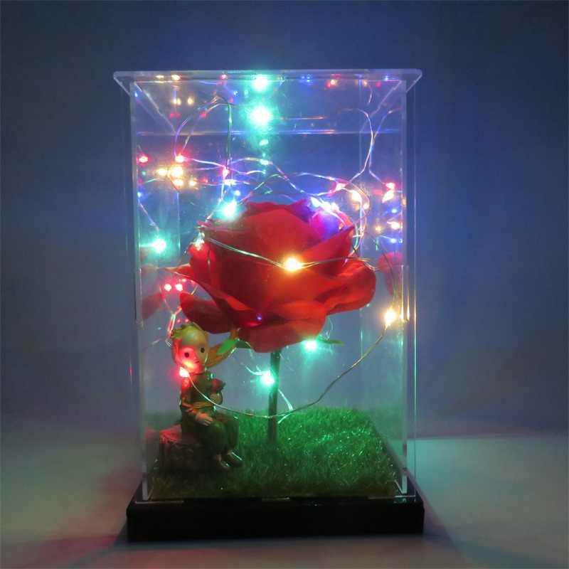 DIY المواد حزمة الراتنج الأمير الصغير أرقام مع روز led أضواء الحرفية المنزلية الديكور عيد الحب هدايا عيد الميلاد