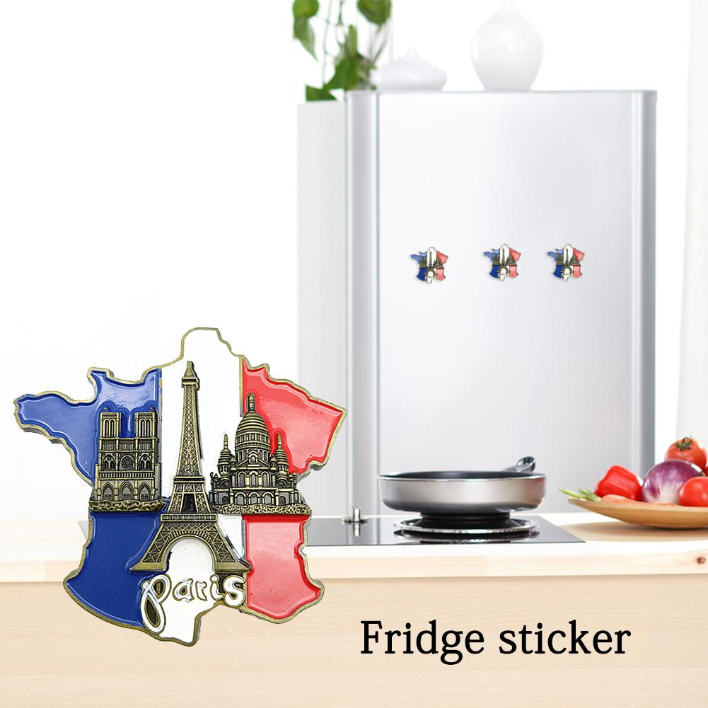 1pcs Creative 3D Metal Magnet France Map Fridge Sticker Resin Sticker <font><b>Paris</b></font> Tourist Souvenir Home Decoration Dropshipping image