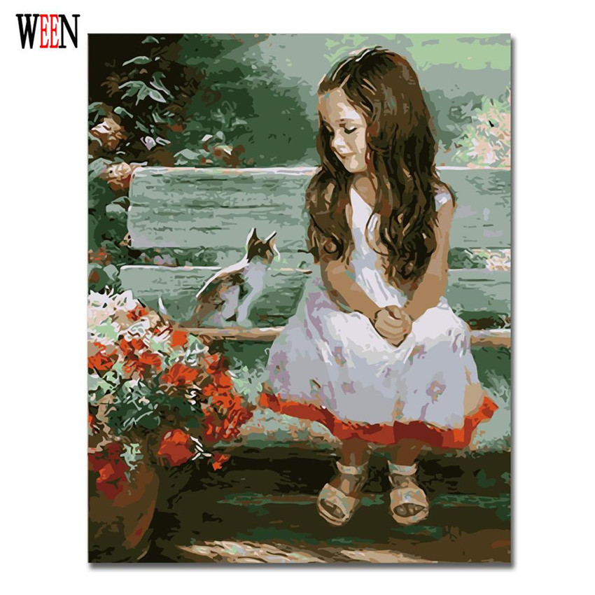 Girl and Cat Oil Painting By Numbers On Canvas DIY Handpainted Child Coloring By numbers Digital Canvas Home Decor Gift